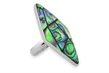 STERLING SILVER ABALONE LARGE RHOMBOID COCKTAIL RING