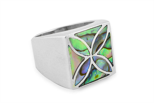 STERLING SILVER ABALONE MOSAIC SIGNET RING