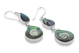STERLING SILVER ABALONE THIRD EYE SHIVAS SHELL EARRINGS
