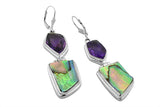 STERLING SILVER ABSTRACT SHAPED AMETHYST AND ABALONE EARRINGS