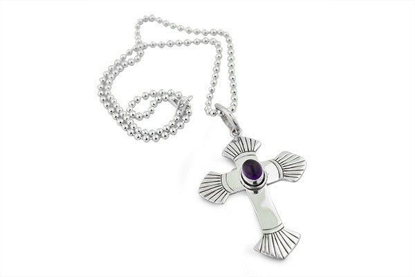 Sterling Silver Amethyst Crucifix Pendant Necklace