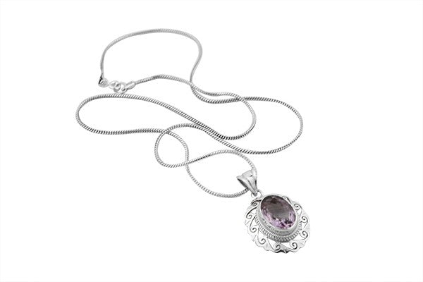Sterling Silver Amethyst Jigsaw Pendant with Serpentine Chain