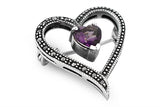 STERLING SILVER AMETHYST MARCASITE HEART BROACH