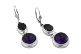 STERLING SILVER AMETHYST AND IOLITE EARRINGS