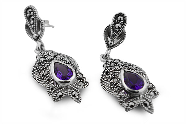 STERLING SILVER AMETHYST AND MARCASITE EARRINGS