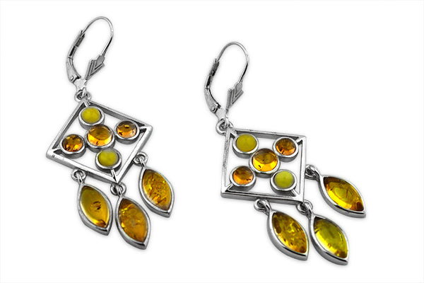 STERLING SILVER ART DECO COGNAC AND BUTTERSCOTCH AMBER EARRINGS
