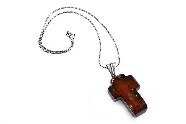Sterling Silver Baltic Amber Crucifix Necklace Pendant