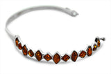STERLING SILVER BALTIC AMBER CUFF BANGLE BRACELET