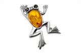 STERLING SILVER GREEN AND COGNAC BALTIC AMBER FROG BROACH