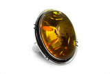 STERLING SILVER BALTIC AMBER HAND CUT OVAL CABOCHON RING