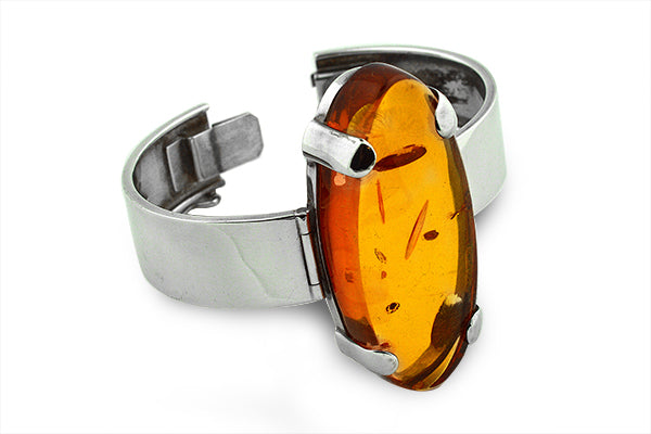 STERLING SILVER BALTIC AMBER HANDCUFF BRACELET