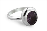 STERLING SILVER BEZEL SET AMETHYST RING