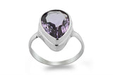 STERLING SILVER BEZEL SET PEAR SHAPED AMETHYST RING