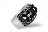 Sterling Silver Black Lace Onyx and Marcasite Ring