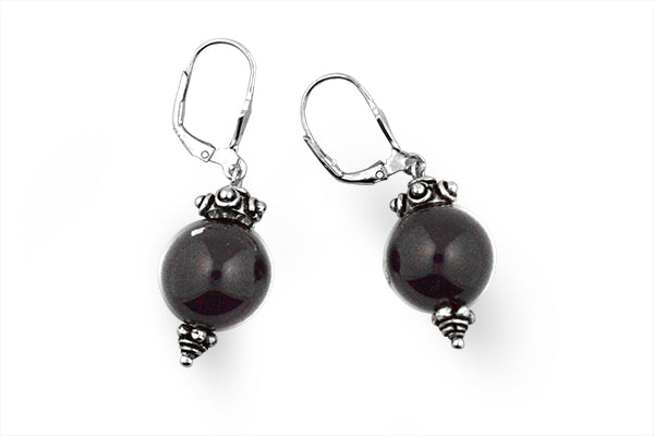 Sterling Silver Black Onyx Ball Earring