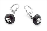 Sterling Silver Black Onyx Semi Round Ball Earring