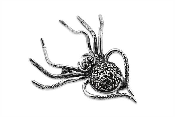 STERLING SILVER BLACK WIDOW MARCASITE SPIDER BROACH