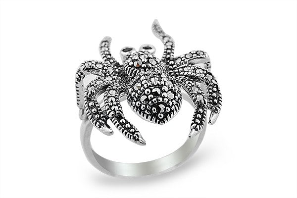 STERLING SILVER BLACK WIDOW SPIDER MARCASITE RING