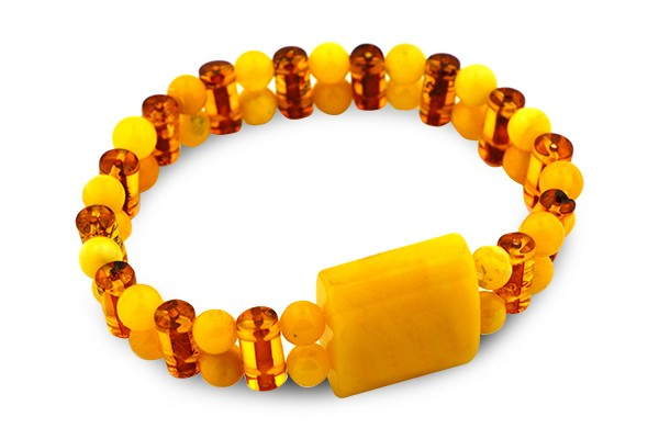 STERLING SILVER BUTTERSCOTCH AND COGNAC BALTIC AMBER BRACELET