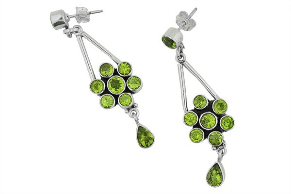 STERLING SILVER CHANDELIER PERIDOT EARRINGS
