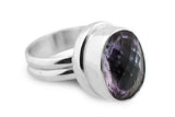 STERLING SILVER CHECKERBAOARD CUT AMETHYST COCKTAIL RING