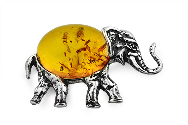 STERLING SILVER COGNAC BALTIC AMBER ELEPHANT BROACH