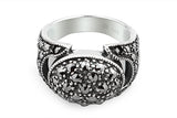 STERLING SILVER EAST WEST OVAL MARCASITE RING