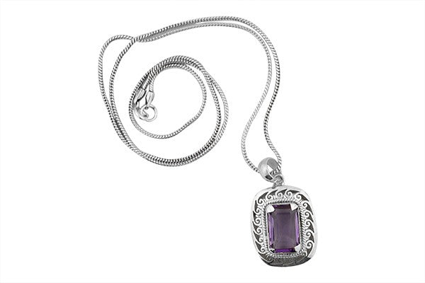 Sterling Silver Emerald Cut Amethyst Jigsaw Pendant with Serpentine Chain