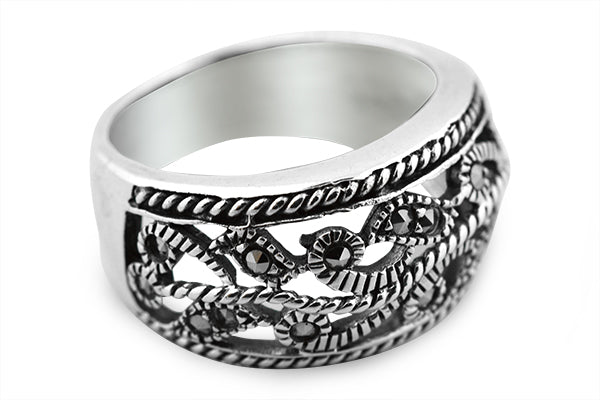 STERLING SILVER FLORAL VEIL MARCASITE BAND