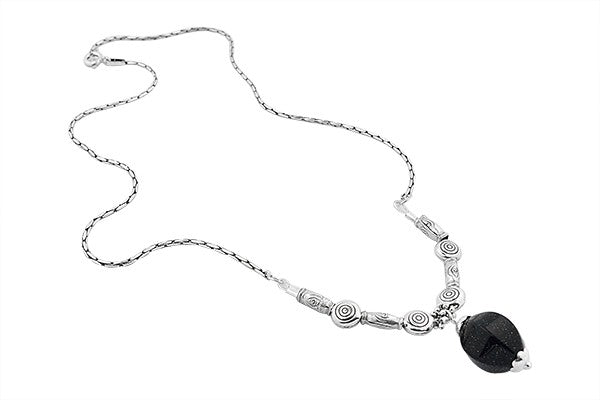 Sterling Silver Gold Dust Onyx Gypsy Necklace