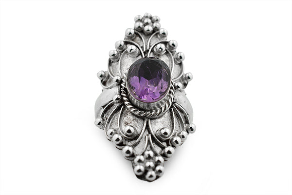 STERLING SILVER GRAPE VINE AMETHYST COCKTAIL RING