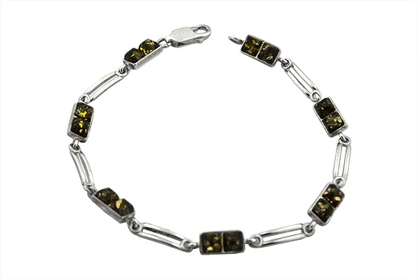 STERLING SILVER GREEN BALTIC AMBER BRACELET