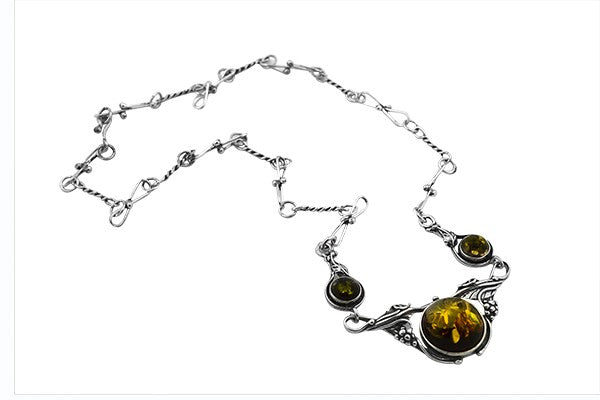 Sterling Silver Green Baltic Amber Necklace