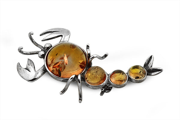 STERLING SILVER GREEN AND COGNAC BALTIC AMBER SCORPION BROACH