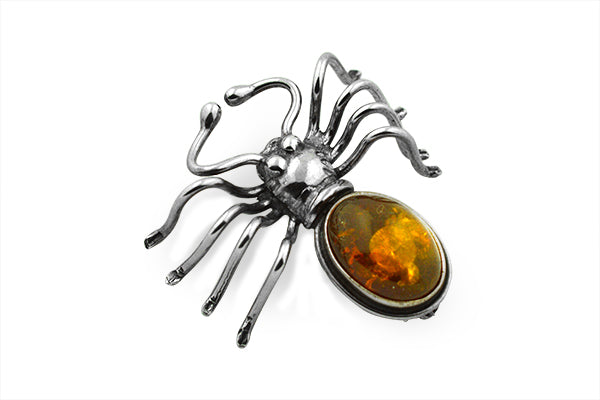 STERLING SILVER GREEN AND COGNAC BALTIC AMBER SPIDER BROACH