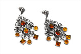 STERLING SILVER GYPSY BALTIC AMBER WIRE CURL EARRINGS