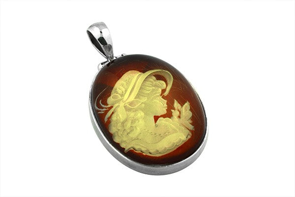 Sterling Silver Hand Carved Cameo Baltic Amber Pendant