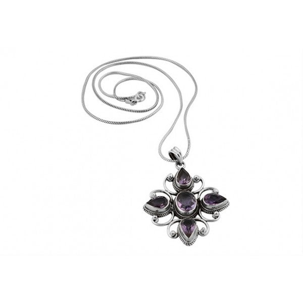 Sterling Silver Handcrafted Amethyst Victorian Cross Pendant and Serpentine Chain
