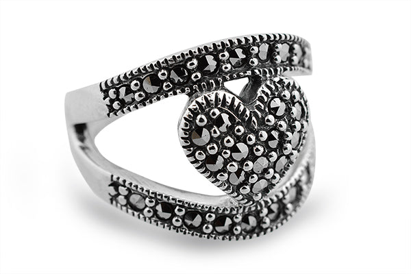 Sterling Silver Heart Marcasite Band