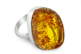 STERLING SILVER HIGH GRADE BALTIC AMBER HAND CUT CABOCHON RING