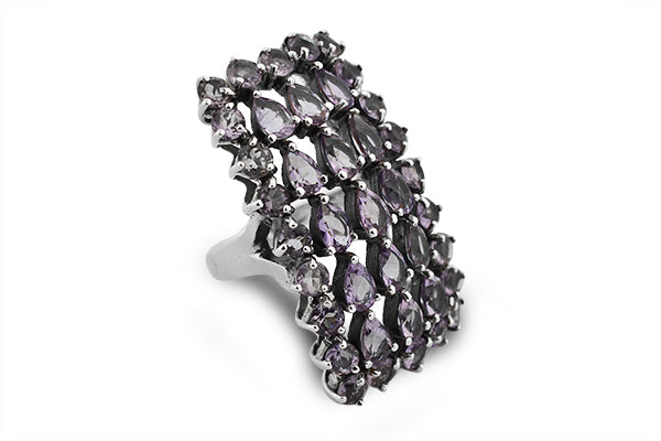 STERLING SILVER HUMONGOUS AMETHYST COCKTAIL RING