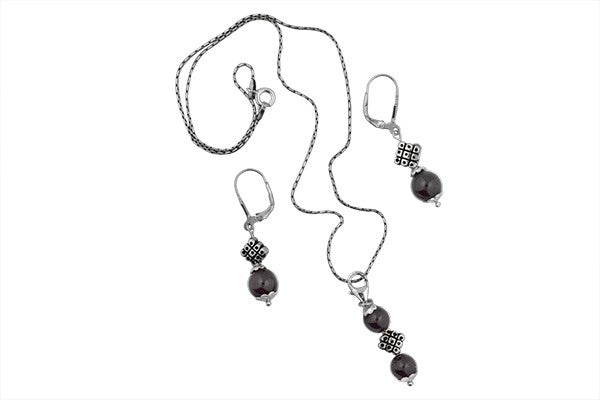 STERLING SILVER INDONESIAN ONYX NECKLACE AND EARRING SET