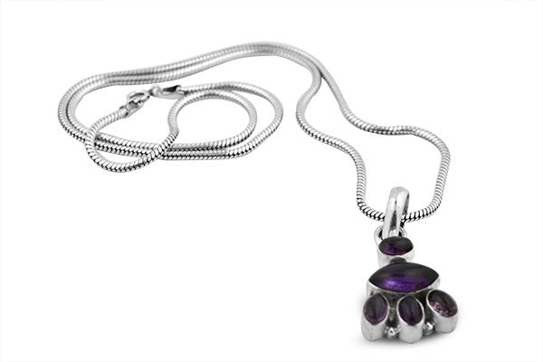 Sterling Silver Leopard Paw Amethyst Pendant with Snake Chain