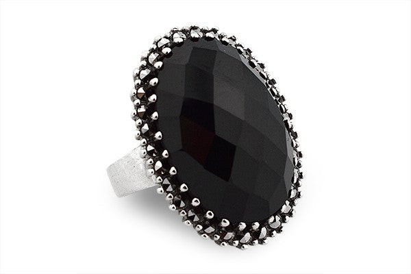 STERLING SILVER LIBERACE BLACK ONYX RING