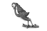 STERLING SILVER MARCASITE BLACK CRANE WITH GARNET EYES