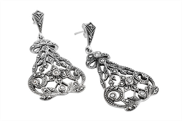 STERLING SILVER MARCASITE FILIGREE CHANDELIER EARRINGS