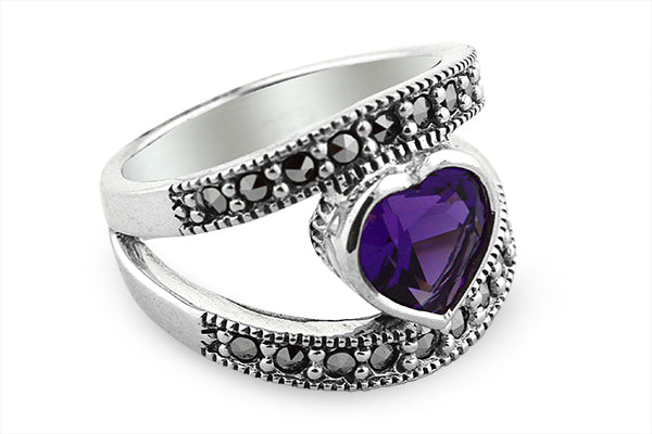 STERLING SILVER MARCASITE HEART AMETHYST RING