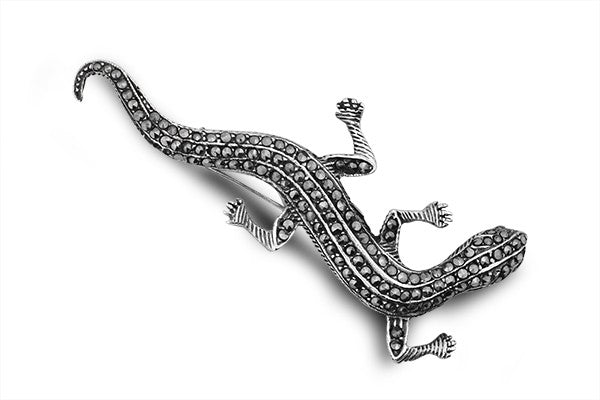 STERLING SILVER MARCASITE LIFE SIZE LIZARD BROACH