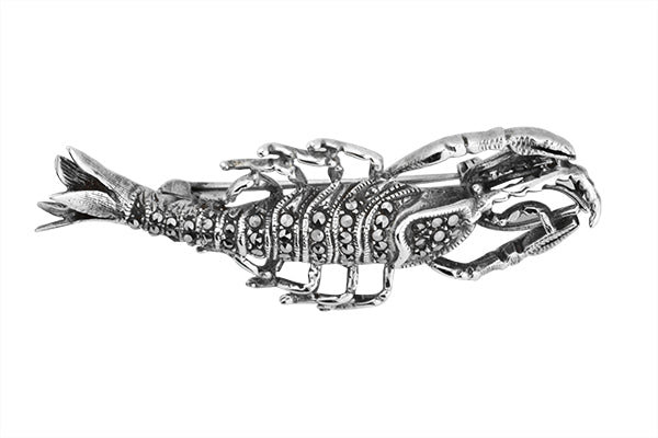 STERLING SILVER MARCASITE LOBSTER BROACH