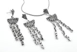 STERLING SILVER MARCASITE NECKLACE EARRINGS SET